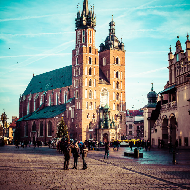 """View at St. Mary's Gothic Church, famous landmark in Krakow, Poland."" stock image"