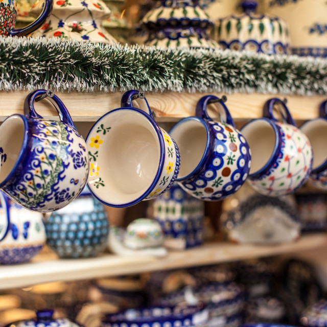 """Colorful ceramics in traditonal polish market."" stock image"