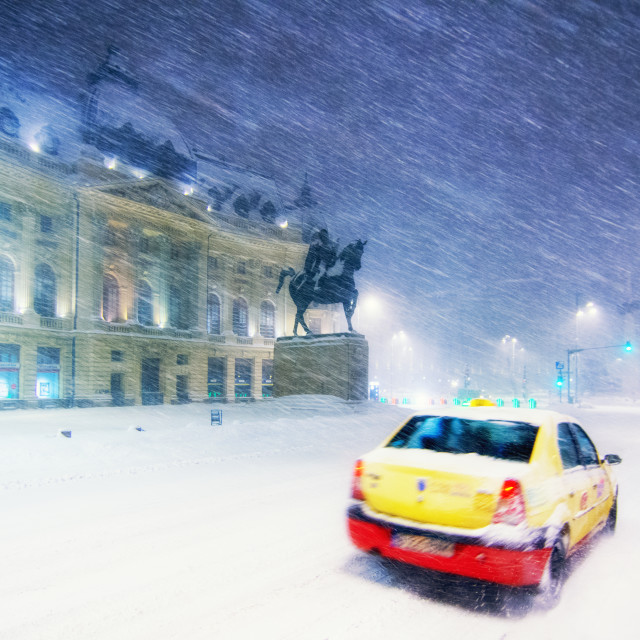 """Taxi Snow"" stock image"