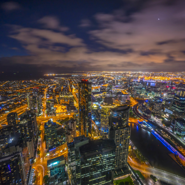 """Aerial view of dramatic night sky at Melbourne city skyline"" stock image"