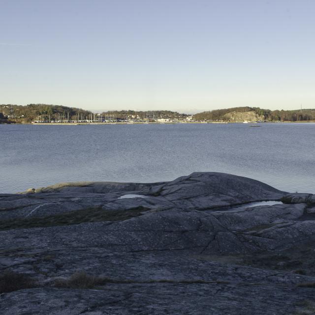 """""""some rock on the swedish westcoast"""" stock image"""
