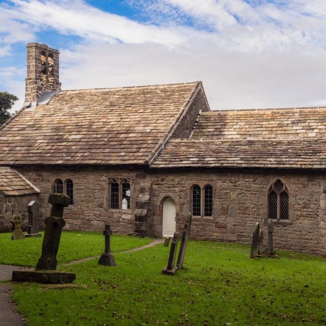 """""""St Peters Church, Heysham Village, Heysham, Morcambe bay, Lancashire, UK"""" stock image"""