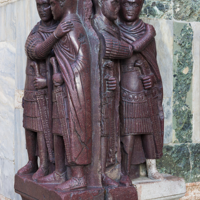 """Statues of four tetrarchs outside the Basilica of San Marco"" stock image"