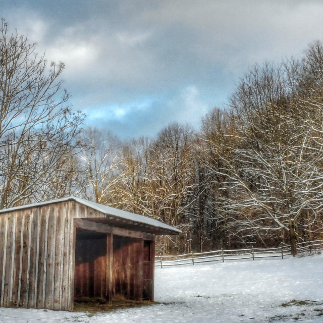 """""""Morning snow in the countryside"""" stock image"""