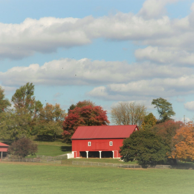 """""""red barn in rural countryside"""" stock image"""