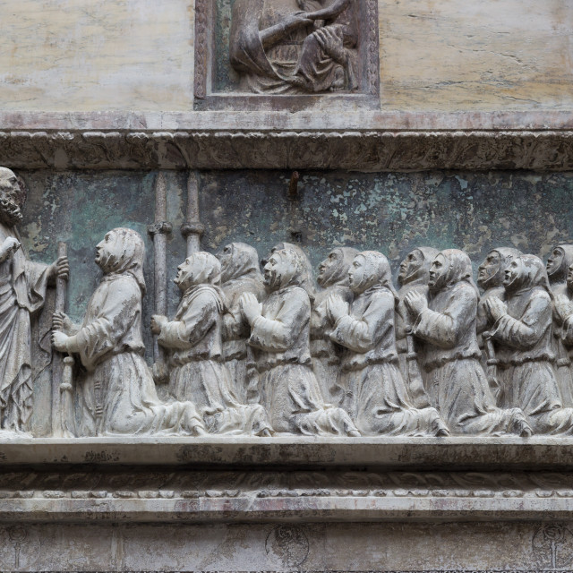 """Detail of sculpture on the facade of the Scuola Grande di San Giovanni Evangelista, Venice"" stock image"