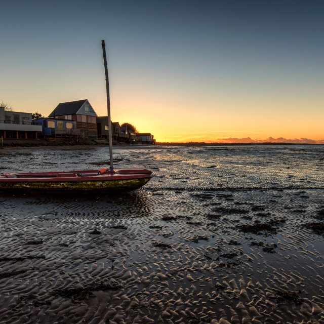 """Sunset and Boats At Wrabness"" stock image"