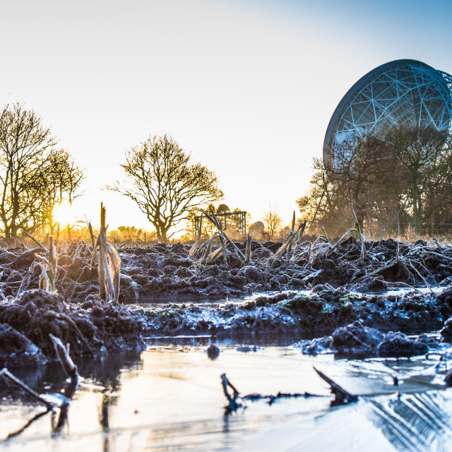 """Jodrell Bank in Winter"" stock image"