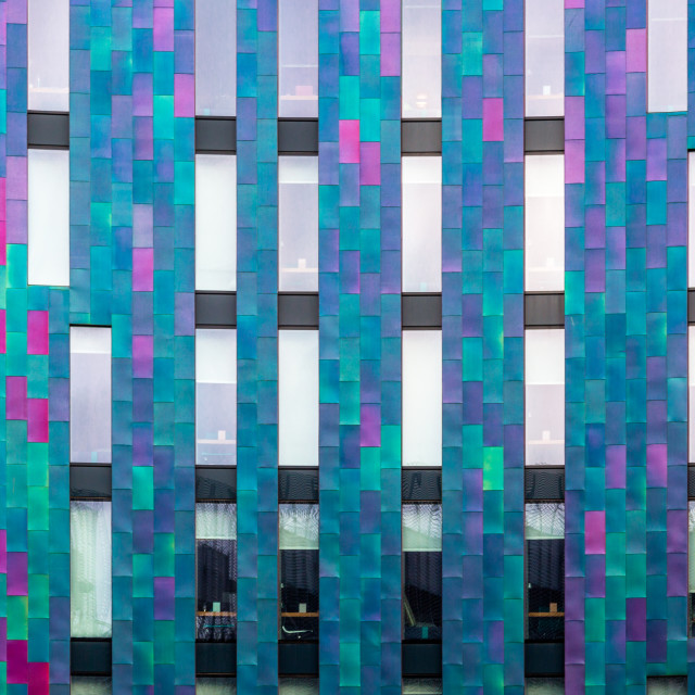 """""""Modern building tiles elevation in bright contrasting colors"""" stock image"""