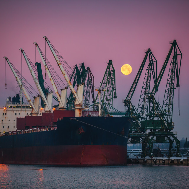 """""""Cargo ship docked in the port"""" stock image"""