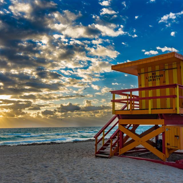 """Keeping a watchful eye on a Miami Beach sunrise"" stock image"