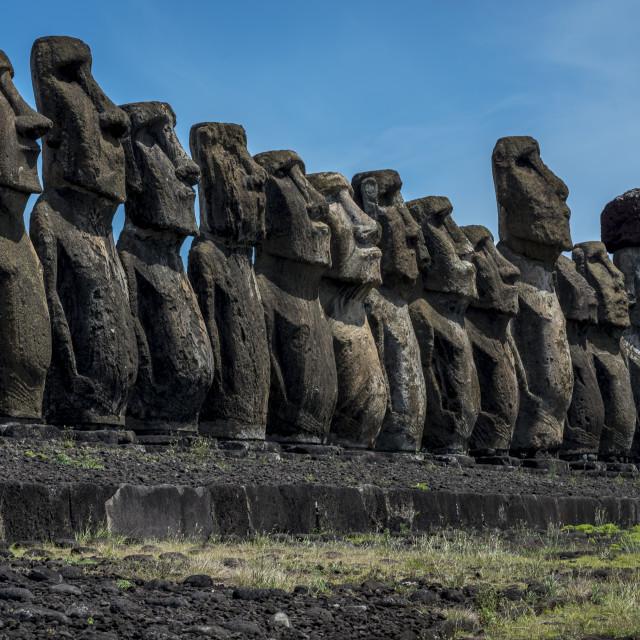 """Moai on easter island,Chile"" stock image"