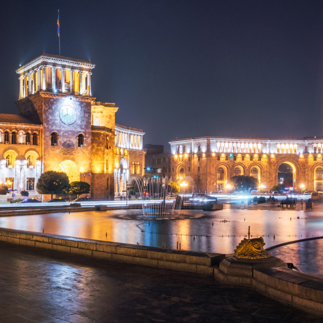 """Republic Square with dancing fountains in Yerevan, Armenia."" stock image"