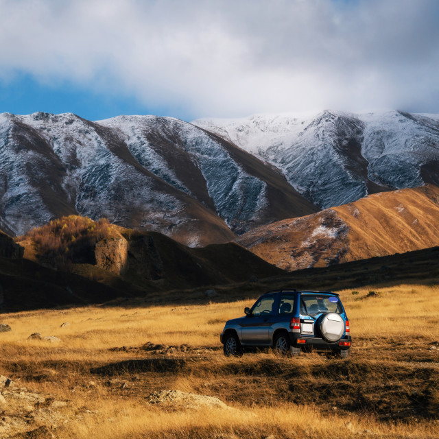 """Off-road travel on the mountain road"" stock image"