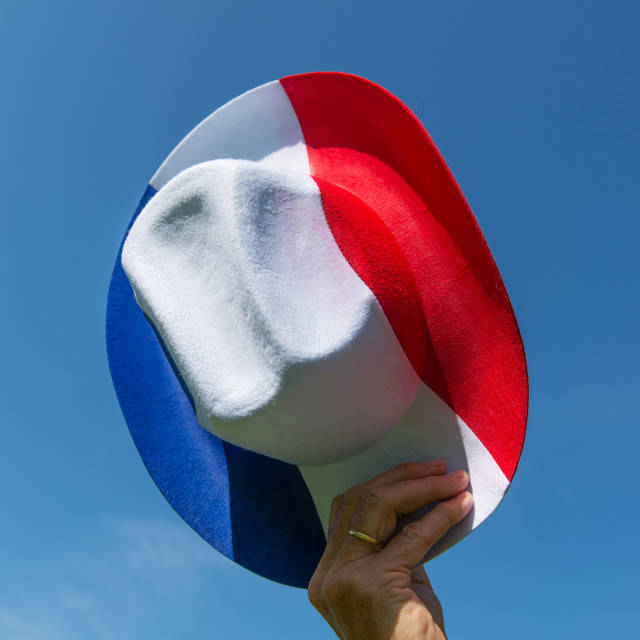 """""""French hat in blue white and red"""" stock image"""