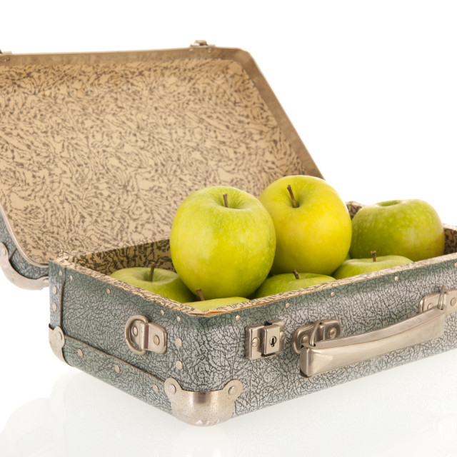 """""""Open vintage suitcase with fruit"""" stock image"""