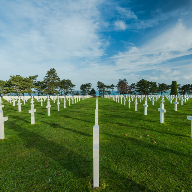 """Graveyards of fallen soldiers in Normandy"" stock image"