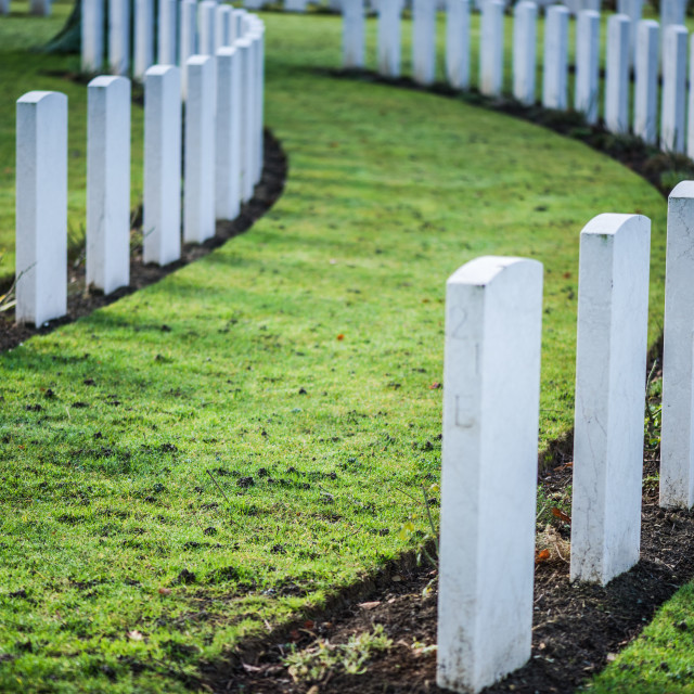 """""""Tombstones in British War Cemetery in Normandy,France"""" stock image"""