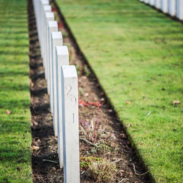 """Tombstones in British War Cemetery in Normandy,France"" stock image"