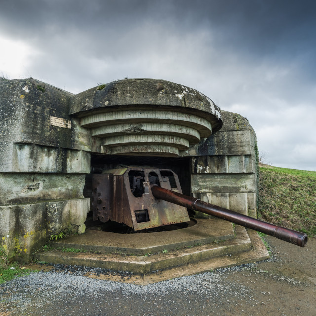 """Normandy german defence artillery guns in France"" stock image"