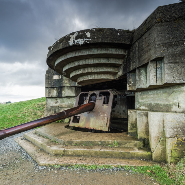 """German bunkers and artillery in Normandy,France"" stock image"