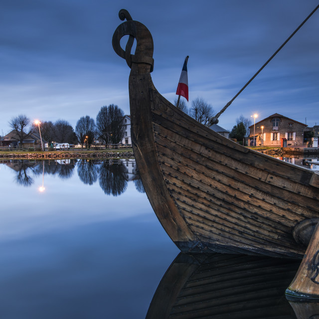 """old wooden historic ship in port in Carentan,France"" stock image"
