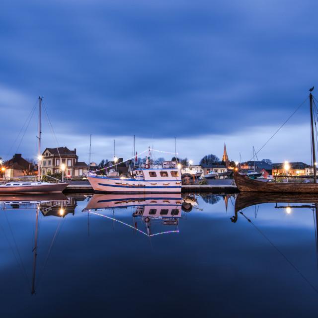 """""""Carentan maritime harbour at twilight"""" stock image"""