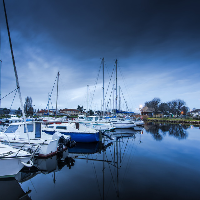 """""""sailings boats in Carentan quay in Normandy,France"""" stock image"""