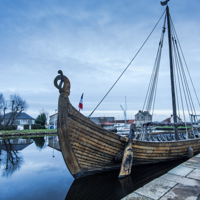 """""""Old wooden historic ship in Carentan quay,France"""" stock image"""