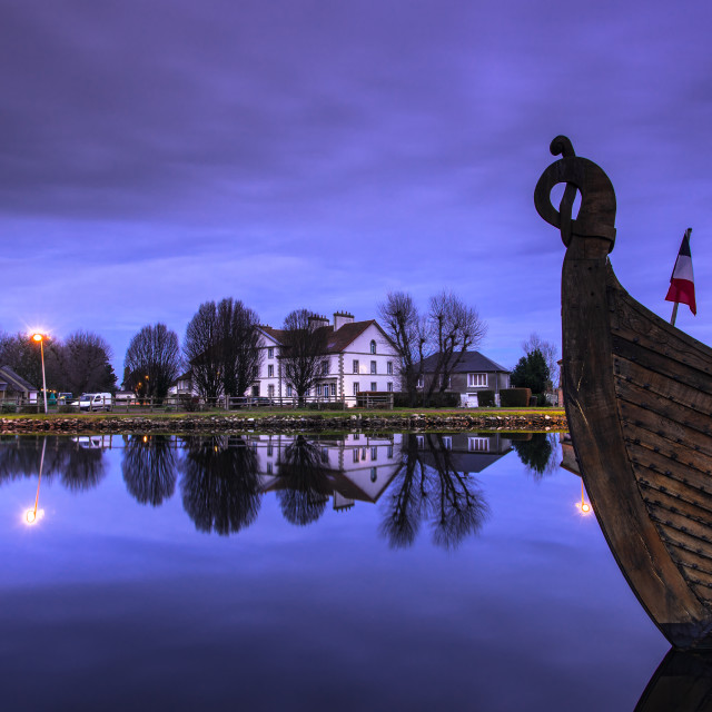 """""""mirror reflections in harbour water in Carentan,France"""" stock image"""