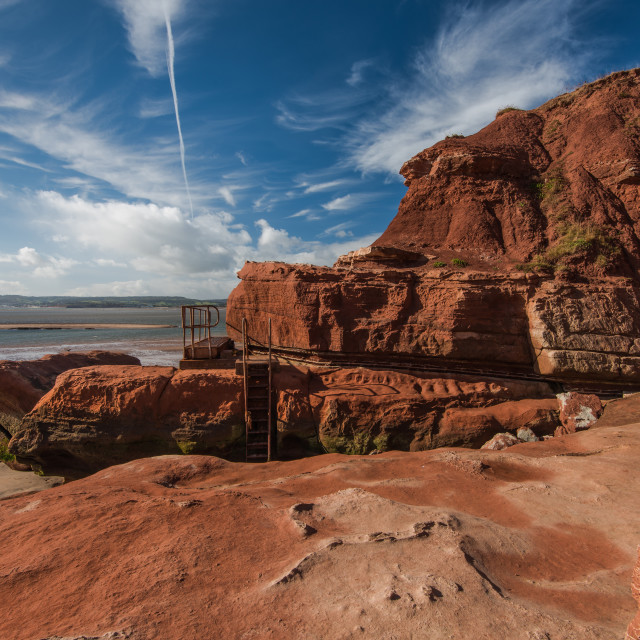 """""""Red rocks on Jurassic heritage coast in Exmouth,UK"""" stock image"""