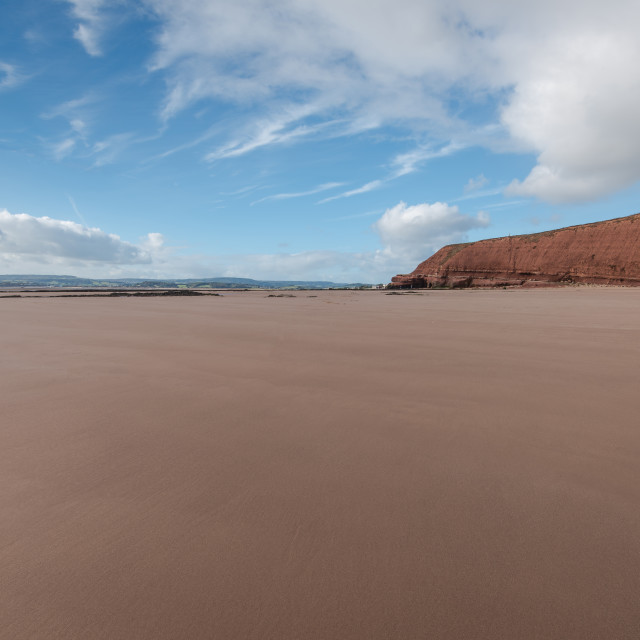 """""""sandy beach with red sand in Exmouth ,Devon, UK"""" stock image"""