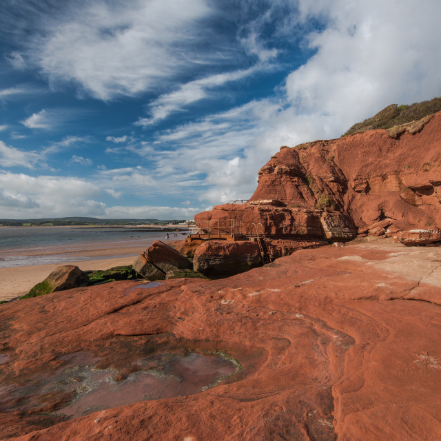 """""""Red cliffs on beach in Exmouth,UK"""" stock image"""