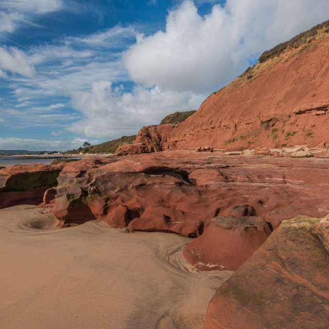 """""""Low tide at beach in Exmouth, UK"""" stock image"""