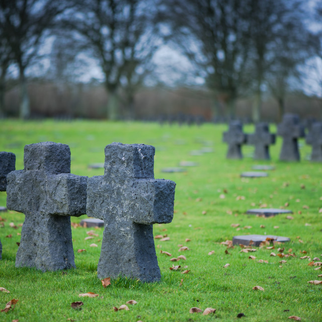 """German Military Cemetery at La Cambe, Normandy, France."" stock image"