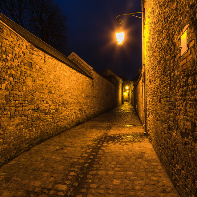 """""""Old french mediewal cobbled street in Carentan,France"""" stock image"""