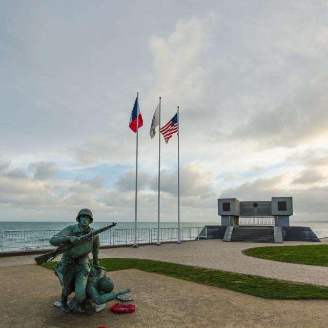 """Omaha Beach War Memorial in Normandy, France"" stock image"