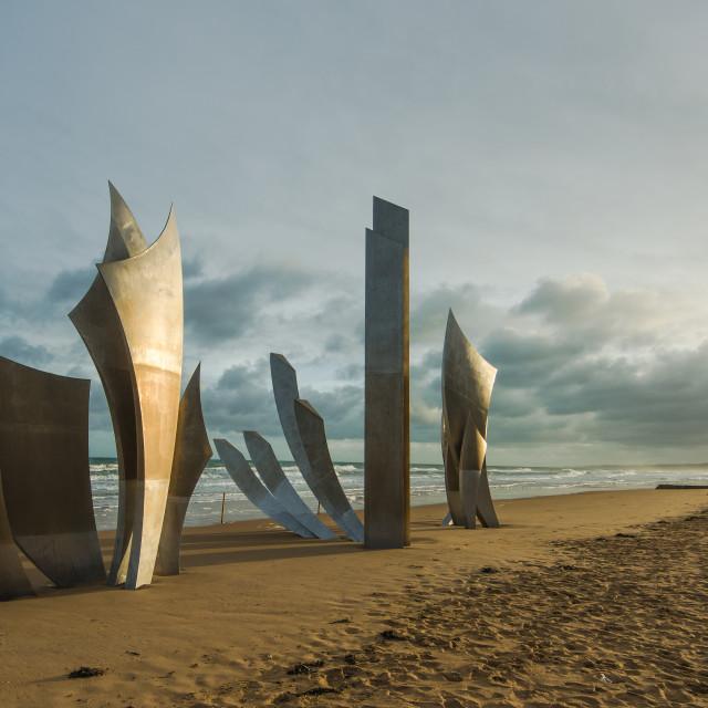 """Omaha Beach World War Memorial in Normandy,France."" stock image"