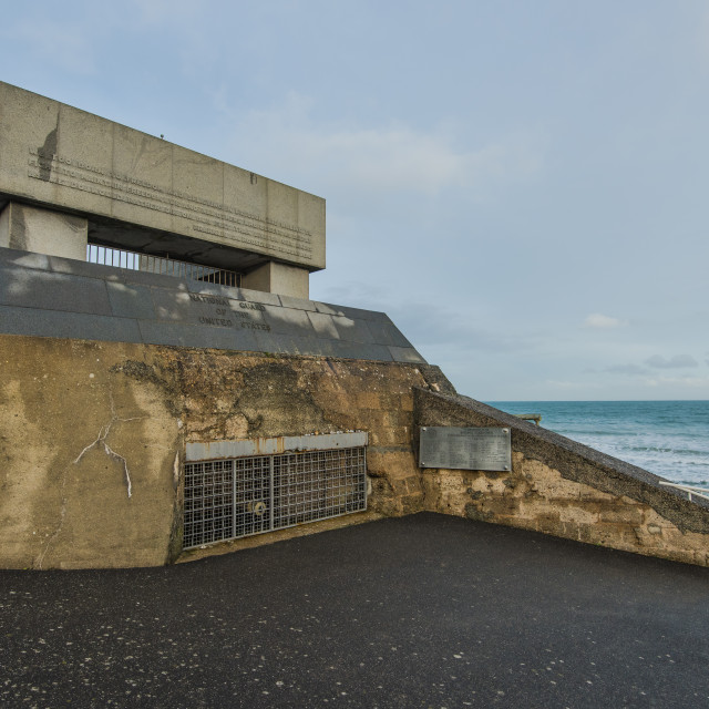 """""""German bunker on Omaha Beach in Normandy,France"""" stock image"""
