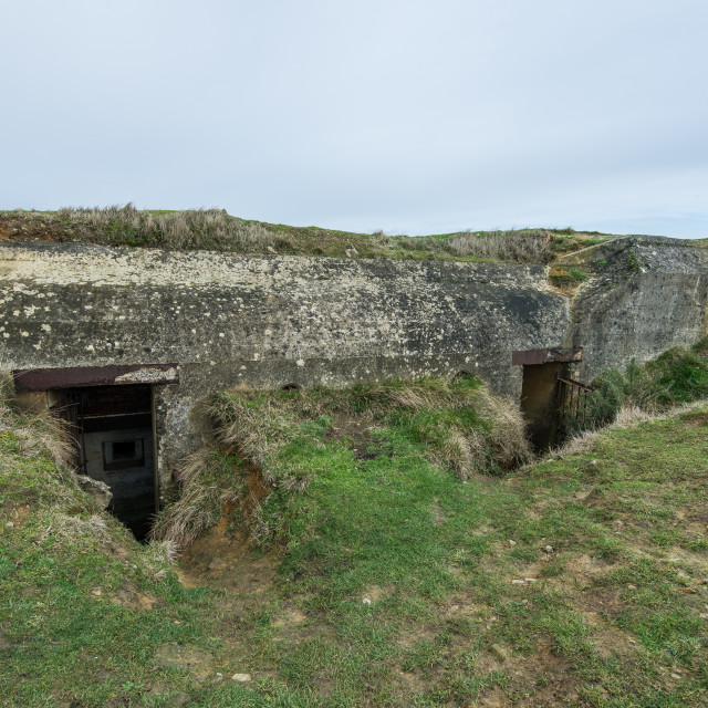 """""""German bunkers of Atlantic Wall and artillery battery of Longues sur Mer...."""" stock image"""