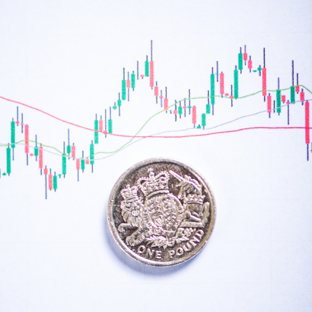 """""""Pound coins exchange rate chart"""" stock image"""