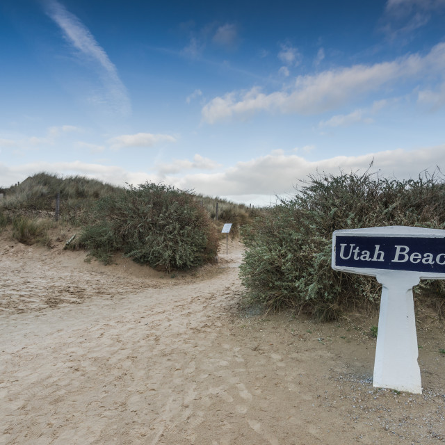 """Utah Beach invasion landing memorial,Normandy,France"" stock image"