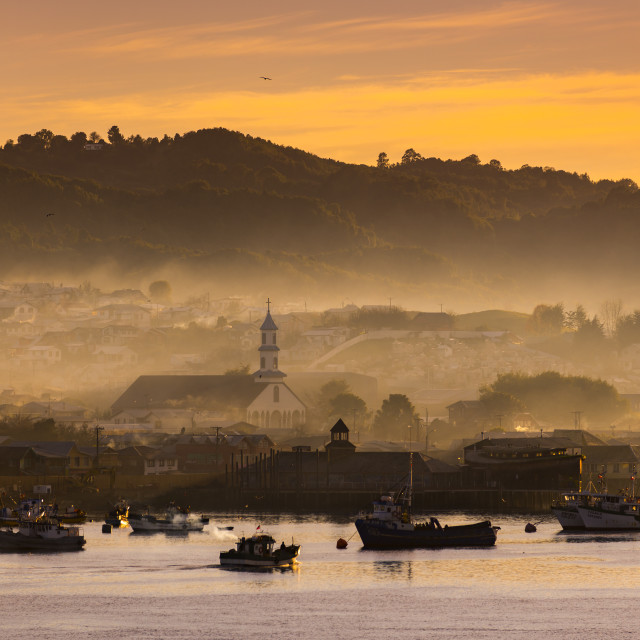 """Dalcahue city, Chiloé island, Chile."" stock image"