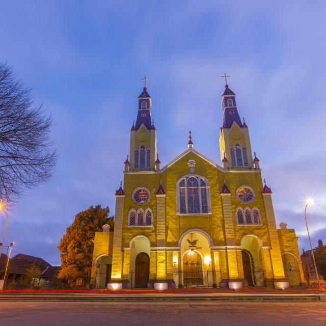 """""""San Francisco Church, castro, Chiloe, Chile."""" stock image"""