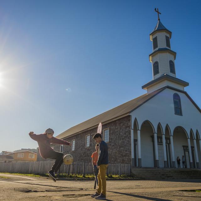 """""""Dalcahue church, Chiloé island, Chile"""" stock image"""