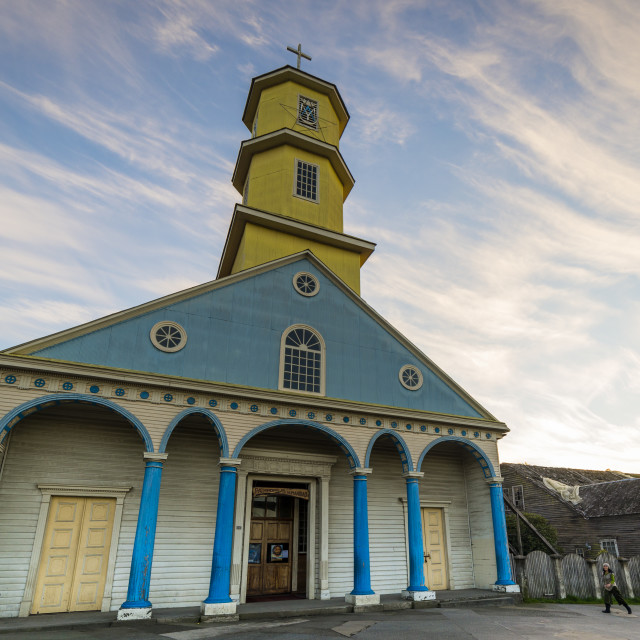 """Chonchi church, Chiloé island, Chile"" stock image"