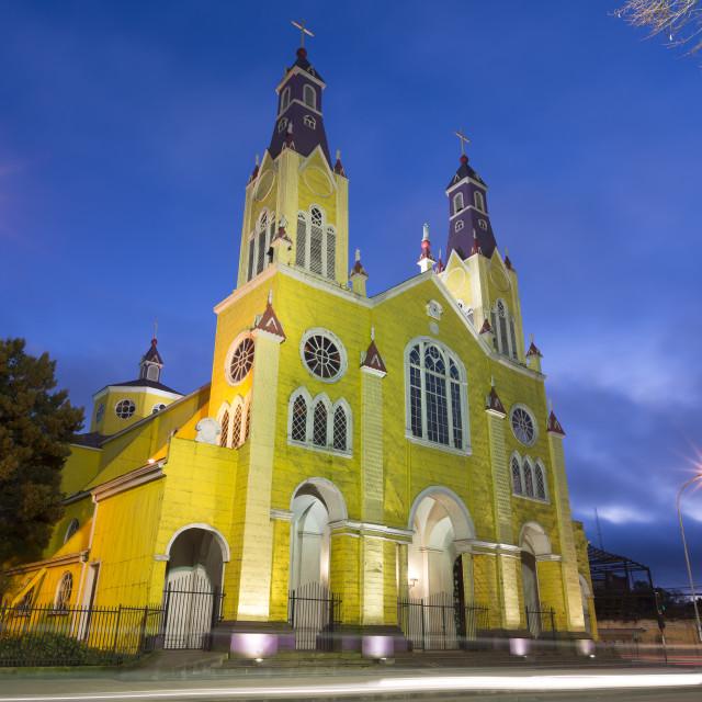"""""""Castro church Chiloé island, Chile"""" stock image"""