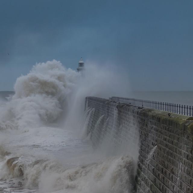 """""""Tynemouth Pier Tidal surge"""" stock image"""