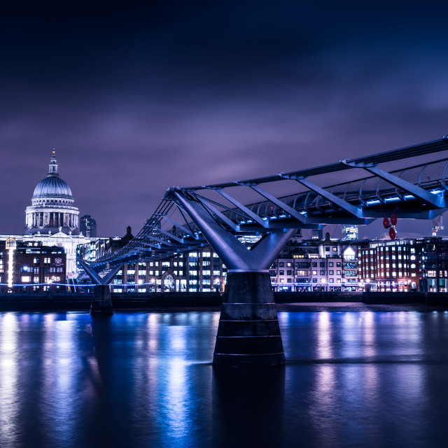 """Millennium Bridge in London at night"" stock image"