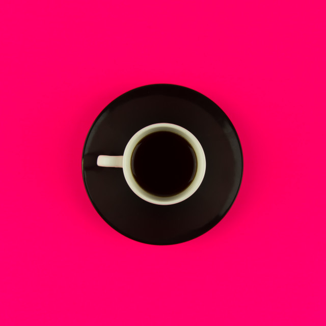 """""""Coffee on bright pink background"""" stock image"""